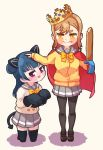 >:) 2girls animal_ears baguette bite_mark black_footwear black_legwear blue_hair blush bow bowtie bread brown_hair cape cat_ears commentary_request demon_tail dodapan double-breasted fang food food_on_face full_body gloves grey_skirt halloween_costume hand_on_another's_head highres holding holding_sword holding_weapon kneeling korean_commentary kunikida_hanamaru looking_at_viewer love_live! love_live!_sunshine!! miniskirt multiple_girls open_mouth pantyhose paw_gloves paws pleated_skirt red_cape school_uniform serafuku shoes side_bun skirt standing sweatdrop sword tail thigh-highs tsushima_yoshiko uranohoshi_school_uniform violet_eyes weapon white_background yellow_cardigan yellow_eyes yellow_neckwear