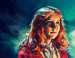 1girl alice_x._zhang amy_pond cardigan child commentary commission doctor_who english_commentary green_eyes impressionism night night_sky nightgown portrait redhead sky younger