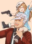 1boy 1girl :d baseball_cap blush boots brown_hair carrying closed_eyes clothes_writing crossover grey_hair gun gundam gundam_tekketsu_no_orphans hair_between_eyes hat hataraku_saibou laughing long_hair long_sleeves necktie open_mouth orga_itsuka otonari platelet_(hataraku_saibou) short_hair_with_long_locks shoulder_carry smile weapon