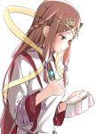 1girl blush fan_la_norne feather_hair hair_ribbon japanese_clothes long_hair miko niameresp nintendo ribbon simple_background smile solo white_background xenoblade_(series) xenoblade_2 xenoblade_2:_ogon_no_kuri_ira yellow_eyes