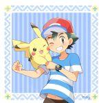 1boy black_hair brown_eyes creatures_(company) game_freak gen_1_pokemon mei_(maysroom) nintendo pikachu pokemon pokemon_(anime) pokemon_sm_(anime) satoshi_(pokemon)