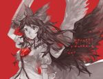 1girl 2017 ahoge arm_cannon arm_up bangs bird_wings blouse blush bow breasts cape hair_bow highres long_hair looking_at_viewer medium_breasts monochrome navel parted_lips puffy_short_sleeves puffy_sleeves red_background reiuji_utsuho shidaccc short_sleeves simple_background solo spot_color third_eye touhou upper_body very_long_hair weapon white_pupils wings
