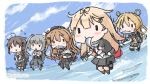 5girls abukuma_(kantai_collection) ahoge asymmetrical_clothes bag bangs belt bike_shorts black_footwear black_gloves black_jacket black_legwear black_ribbon black_serafuku black_skirt blonde_hair braid brown_hair chibi clouds commentary_request dress fish fish_in_mouth flying_sweatdrops gloves gradient_hair grey_hair grey_sailor_collar grey_skirt hair_between_eyes hair_flaps hair_ornament hair_over_shoulder hair_ribbon hair_rings hairclip holding_fish jacket kantai_collection kasumi_(kantai_collection) kneehighs light_brown_hair long_hair long_sleeves multicolored_hair multiple_girls murasame_(kantai_collection) neck_ribbon neckerchief ocean pinafore_dress pleated_skirt red_neckwear red_ribbon remodel_(kantai_collection) ribbon sailor_collar sattsu saury scarf school_uniform serafuku shigure_(kantai_collection) shirt short_sleeves shorts shorts_under_skirt side_ponytail single_braid skirt sky sleeveless sleeveless_dress socks straight_hair thigh-highs twintails two_side_up very_long_hair white_gloves white_scarf white_shirt yuudachi_(kantai_collection)