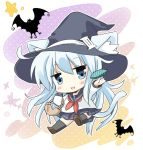 1girl animal_ears basket bat black_legwear black_sailor_collar black_skirt blue_eyes cat_ears cat_tail chibi commentary_request full_body hat hibiki_(kantai_collection) hizuki_yayoi kantai_collection long_hair looking_at_viewer neckerchief pleated_skirt red_neckwear sailor_collar school_uniform serafuku silver_hair skirt tail thigh-highs witch_hat