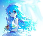 1girl blue_eyes blue_hair bracelet breasts bubble closed_mouth dress expressionless flower ha_youn hat heart heart-shaped_pupils highres ikamusume jewelry looking_at_viewer shinryaku!_ikamusume sleeveless sleeveless_dress small_breasts solo squid squid_hat symbol-shaped_pupils tentacle_hair white_dress white_hat