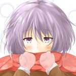 1girl blush eyebrows_visible_through_hair fur-trimmed_sleeves fur_trim gloves honest_(honenano) light_smile nagato_yuki purple_hair red_scarf scarf short_hair solo suzumiya_haruhi_no_shoushitsu suzumiya_haruhi_no_yuuutsu upper_body violet_eyes white_background