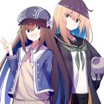 2girls :d bangs black_jacket black_sailor_collar black_skirt blonde_hair blue_eyes blue_hat blue_jacket brown_hair brown_sweater cabbie_hat closed_mouth collared_shirt commentary_request dress_shirt eyebrows_visible_through_hair green_eyes hair_between_eyes hat head_tilt jacket kavka long_hair long_sleeves multiple_girls object_hug open_clothes open_jacket open_mouth original pleated_skirt sailor_collar school_uniform serafuku shirt simple_background skirt smile stuffed_animal stuffed_toy sweater teddy_bear very_long_hair w white_background white_shirt