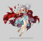 1girl cape circlet copyright_name dress fire_emblem fire_emblem:_radiant_dawn fire_emblem_heroes full_body grey_background kita_senri long_hair micaiah official_art sandals solo teeth torn_clothes white_hair yellow_eyes