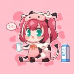 1girl :d animal_costume aqua_eyes bangs blush_stickers chibi commentary_request cosplay cow_costume cow_hood cup dodapan drawstring full_body highres holding holding_cup hood hood_up kigurumi kurosawa_ruby looking_at_viewer love_live! love_live!_sunshine!! milk_carton open_mouth outline pink_background redhead sitting smile solo two_side_up white_outline yellow_neckwear