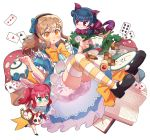 3girls :o ace_of_hearts ace_of_spades alice_(wonderland) alice_(wonderland)_(cosplay) alice_in_wonderland animal_ears ankle_ribbon back_bow bangs black_footwear blue_bow blue_dress blue_hair blush book bow brown_hair card cat_ears cat_tail checkerboard_cookie cheshire_cat cheshire_cat_(cosplay) commentary_request cookie cosplay cup dodapan dress flower food glasses gloves hair_bow hairband highres korean_commentary kunikida_hanamaru kurosawa_ruby long_hair love_live! love_live!_sunshine!! low-tied_long_hair mary_janes multiple_girls mushroom open_book paw_gloves paws plate playing_card pocket_watch purple_bow rabbit_ears redhead ribbon rose shoes short_sleeves side_bun smile socks striped striped_legwear tail teacup teapot thigh-highs tsushima_yoshiko two_side_up watch white_bloomers white_flower white_legwear white_rabbit white_rabbit_(cosplay) white_rose yellow_eyes yellow_ribbon