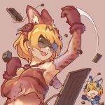 >_< 2girls :d ^_^ animal_ears blonde_hair closed_eyes closed_eyes commentary elbow_gloves extra_ears fangs gloves kemono_friends keyboard_(computer) lumian monitor multiple_girls open_mouth serval_(kemono_friends) shiserval_lefty shiserval_right short_hair simple_background smile swinging teeth upper_body visor vr_visor