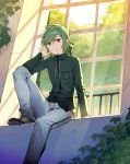 1boy absurdres brown_footwear character_request closed_mouth collared_shirt copyright_request day green_eyes green_hair highres indoors leg_up looking_at_viewer misoni_comi plant railing shirt shoes short_hair sitting smile solo vines window