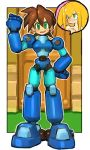 1boy 1girl absurdres android blonde_hair blush brown_hair capcom clenched_hand dakusuta door embarrassed full_body green_eyes hair_between_eyes hand_on_hip highres open_mouth outside_border rock_volnutt rockman rockman_dash roll_caskett smile solo_focus standing