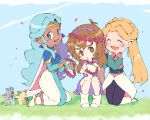 3girls :d ^_^ blonde_hair blue_eyes brown_eyes brown_hair closed_eyes closed_eyes dark_skin dress earrings facial_mark flower head_wreath jewelry kneeling miyata_(lhr) mouse multiple_girls open_mouth petals pidge_gunderson pointy_ears princess_allura romelle sitting smile tiara twintails voltron:_legendary_defender white_hair