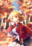1girl absurdres arm_support autumn_leaves azur_lane bangs blonde_hair blue_sky blurry blurry_background blush braid breasts chains crown_braid day earrings eyebrows_visible_through_hair floating_hair french_braid gloves gold_trim hair_ornament hand_up highres jacket jewelry large_breasts light_particles looking_at_viewer outdoors prince_of_wales_(azur_lane) red_eyes red_jacket short_hair sidelocks sitting sky smile solo thigh-highs thighs tree white_gloves white_legwear wind yuu_li_(glass)