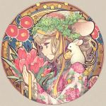 1girl animal animal_ears artist_name blonde_hair cheese floral_print flower food frilled_sleeves frills grey_eyes hair_ornament hair_ribbon head_wreath japanese_clothes jewelry kimono mouse mouse_ears n_kamui original pendant portrait profile ribbon smile solo swiss_cheese twitter_username yellow_ribbon