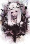 1girl black_eyes bug butterfly crying doku-chan_(dokkudokudoku) dripping highres injury insect looking_at_viewer medium_hair original solo thorns white_hair yandere