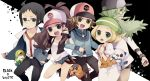 2girls 3boys :d ahoge baseball_cap bel_(pokemon) black_hair blonde_hair blue_eyes blue_jacket breasts brown_hair character_request cheren_(pokemon) commentary_request creatures_(company) game_freak gen_5_pokemon green_eyes hat jacket long_hair looking_at_viewer mata multiple_boys multiple_girls n_(pokemon) nintendo open_mouth poke_ball pokemon pokemon_(creature) pokemon_(game) pokemon_bw short_hair short_shorts shorts smile touko_(pokemon) touya_(pokemon)
