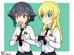 2girls anzio_school_uniform belt belt_buckle black_hair blonde_hair blush braid brown_eyes buckle carpaccio girls_und_panzer green_background green_eyes long_hair multiple_girls necktie open_mouth pepperoni_(girls_und_panzer) playing_games playstation_controller ruka_(piyopiyopu) school_uniform short_hair simple_background single_braid skirt smile sweatdrop twitter_username upper_body wavy_mouth