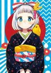 1girl absurdres animal animal_on_shoulder aqua_eyes bangs bird black_kimono blue_background blunt_bangs bob_cut bow chick commentary_request dots feathers flower hair_bow hair_feathers hair_ornament heart heart_hair_ornament highres japanese_clothes kimono long_sleeves looking_at_viewer looking_past_viewer multicolored_sash nengajou new_year original pink_heart rainys_bill red_bow red_sun sash short_hair silver_hair solo striped striped_background striped_bow striped_sash two-tone_background two-tone_bow v_arms white_background white_bow yellow_feathers