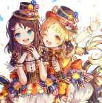 2girls absurdres blonde_hair blue_bow blue_eyes blue_hat blush bow brown_eyes brown_hair character_request copyright_request eyebrows_visible_through_hair gloves ha_youn hair_bow hat highres index_finger_raised long_hair looking_at_viewer multiple_girls nervous_smile one_eye_closed open_mouth polka_dot polka_dot_bow smile sweatdrop top_hat twintails white_gloves