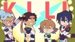 2boys 2girls anger_vein bandanna black_hair blue_eyes bodysuit brown_hair clenched_teeth dark_skin dark_skinned_male earrings english facial_mark glasses grey_eyes hair_bun hunk_(voltron) jewelry keith_(voltron) miyata_(lhr) multiple_boys multiple_girls pidge_gunderson pointy_ears princess_allura teeth voltron:_legendary_defender white_hair
