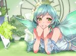 1girl aqua_hair bang_dream! blush chin_rest clenched_hands commentary_request detached_sleeves deyuuku dress eyebrows_visible_through_hair fairy_wings flower green_eyes grin hair_flower hair_ornament hikawa_hina lying on_stomach photo-referenced plant potted_plant short_hair side_braids smile solo white_flower wings