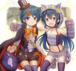 2girls :d :o animal_ears animal_hood bag bandage bandaged_leg bandages bangs bare_shoulders belt belt_buckle black_cape black_shorts blue_hair blush boots bow brown_hat buckle cape cat_ears cat_hood center_frills collarbone collared_shirt commentary_request dress_shirt elbow_gloves eyebrows_visible_through_hair fang frills gloves hair_between_eyes hair_ornament halloween hand_up hat hood jack-o'-lantern jack-o'-lantern_hair_ornament knee_boots long_hair long_sleeves looking_at_viewer migumi_(niiya) minami_(niiya) mini_hat mini_top_hat multicolored multicolored_cape multicolored_clothes multiple_girls navel niiya open_mouth orange_bow orange_cape original outstretched_arm parted_lips paw_gloves paws puffy_shorts purple_belt purple_footwear purple_legwear purple_skirt shirt short_shorts shorts siblings sisters skirt smile standing standing_on_one_leg striped striped_bow striped_footwear striped_gloves striped_legwear striped_skirt tilted_headwear top_hat vertical-striped_legwear vertical_stripes very_long_hair violet_eyes white_shirt yellow_bow