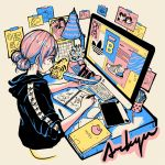 1girl adidas artist_name black_hoodie calendar_(object) computer crisalys drawing heart highres holding holding_shoes hood hoodie keyboard_(computer) lamp leaf long_sleeves monitor mouse_(computer) notebook original pen pink_hair plant poster_(object) shoes sleeves_rolled_up sneakers solo tape tied_hair upper_body