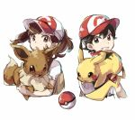 1boy 1girl bangs black_hair brown_eyes brown_hair creatures_(company) cropped_torso eevee eyes floating_hair game_freak gen_1_pokemon grin hat nintendo open_mouth parted_bangs pikachu poke_ball poke_ball_print pokemon shirt short_sleeves sketch smile takase_(takase1214) twintails white_shirt