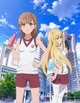 2girls arm_behind_back blonde_hair blue_sky breasts brown_eyes brown_hair building clouds day drinking_straw floating_hair gym_uniform hair_ornament hand_on_hip highres holding long_hair looking_at_viewer looking_back misaka_mikoto multiple_girls outdoors print_shirt purple_shorts shiny shiny_hair shiny_skin shirt shokuhou_misaki short_hair short_shorts shorts sky sleeveless sleeveless_shirt small_breasts standing star star-shaped_pupils symbol-shaped_pupils tanaka_yuuichi thigh-highs to_aru_majutsu_no_index very_long_hair white_legwear white_shirt wind_turbine windmill zettai_ryouiki