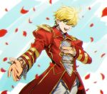 1boy adapted_costume blue_background cowboy_shot epaulettes fate/extra fate_(series) genderswap genderswap_(ftm) green_eyes hand_on_own_chest juliet_sleeves long_sleeves looking_at_viewer male_focus nero_claudius_(fate) nero_claudius_(fate)_(all) outstretched_arm pants petals puffy_sleeves simple_background smile solo white_pants zero-souma