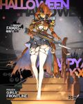 1girl alternate_costume assault_rifle barefoot bayonet bullpup cape costume english famas famas_(girls_frontline) girls_frontline gloves gun halloween halloween_costume hood jack-o'-lantern mask official_art pantyhose pumpkin rifle solo stairs torn_cape torn_clothes torn_pantyhose weapon