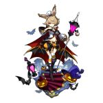 1girl alternate_costume althemia animal_ears artist_request bat boots breasts brown_hair cleavage dragalia_lost garter_straps holding lamp lampion looking_at_viewer official_art rabbit_ears red_eyes shorts staff thigh-highs