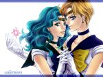 2girls bishoujo_senshi_sailor_moon blonde_hair blue_bow blue_choker blue_eyes blue_sailor_collar bow choker copyright_name couple earrings gloves green_hair hand_holding interlocked_fingers jewelry kaiou_michiru light_smile long_hair magical_girl multiple_girls sailor_collar sailor_senshi sailor_senshi_uniform short_hair smile suji ten'ou_haruka white_background white_gloves yellow_bow yuri