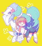 bag blue_eyes blue_hair blush creatures_(company) game_freak gen_7_pokemon hair_ornament headband jewelry long_hair looking_at_viewer mizuki_(pokemon) mog_24_mog moon_(pokemon) nintendo open_mouth pokemon pokemon_(creature) pokemon_(game) pokemon_sm primarina shirt short_hair shoulder_bag simple_background sleeveless sleeveless_shirt smile very_long_hair