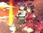 2girls architecture black_hair east_asian_architecture eyepatch eyepatch_removed fate/grand_order fate_(series) heterochromia katou_danzou_(fate/grand_order) low_twintails mochizuki_chiyome_(fate/grand_order) multiple_girls on_roof petals red_eyes sakura_tsubame sitting smile sunset twintails violet_eyes yellow_eyes