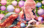 1girl absurdres bandage_over_one_eye bangs blush braid breasts bug butterfly cleavage closed_mouth commentary_request day eyebrows_visible_through_hair fate/grand_order fate_(series) floral_print florence_nightingale_(fate/grand_order) flower hair_flower hair_ornament hair_over_one_eye highres hydrangea insect junpaku_karen long_hair long_sleeves looking_at_viewer lying medium_breasts on_stomach outdoors pink_flower pink_hair pixiv_id purple_flower red_eyes shallow_water sidelocks solo water weapon white_flower wide_sleeves
