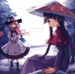 2girls ajirogasa apron bangs black_hair black_hat blunt_bangs braid capelet commentary_request english hat hidden_star_in_four_seasons kashiwagi_chisame kirisame_marisa looking_at_viewer multiple_girls outdoors pink_neckwear scarf sitting snowing touhou tree twin_braids yatadera_narumi