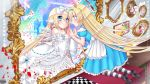 alice_(wonderland) animal_ears bare_shoulders black_footwear blonde_hair blue_dress blue_hairband bookshelf bow card checkered checkered_floor choker copyright_name cross different_reflection dress dress_bow eye_contact frilled_dress frills hair_between_eyes hair_bow hairband head_wings highres kerberos_blade kneeling long_hair looking_at_another mirror official_art painting_(object) pantyhose petals playing_card puffy_short_sleeves puffy_sleeves rabbit_ears reflection short_sleeves sorakase_sawa striped striped_legwear very_long_hair white_bow white_choker white_dress white_wings wings wrist_cuffs