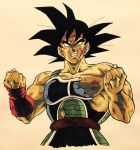 1boy angry armor bandanna bardock bare_shoulders black_eyes black_hair blood blood_on_face broken broken_armor clenched_hands clenched_teeth commentary_request dirty dirty_face dragon_ball expressionless highres lee_(dragon_garou) looking_up male_focus nipples red_bandana scar serious short_hair simple_background spiky_hair tail teeth upper_body white_background