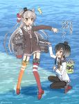 2girls amatsukaze_(kantai_collection) anchor_symbol black_hair black_legwear blue_sailor_collar brown_dress brown_eyes bucket commentary_request dress fish full_body garter_straps gloves gradient_hair hair_tubes hat headgear highres kantai_collection kujira_naoto long_hair mini_hat multicolored_hair multiple_girls neckerchief pantyhose red_footwear red_legwear rensouhou-kun repair_bucket sailor_collar sailor_dress saury searchlight shirt short_dress short_hair short_hair_with_long_locks sidelocks silver_hair single_glove standing standing_on_liquid striped striped_legwear thigh-highs thighband_pantyhose tied_shirt tokitsukaze_(kantai_collection) translation_request two_side_up water white_gloves windsock yellow_neckwear