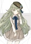 1boy contemporary contrapposto cowboy_shot eyebrows_visible_through_hair frilled_skirt frills green_eyes green_hair hat highres long_hair looking_at_viewer pinocchio_(sinoalice) ribbon sinoalice skirt trap user_ddz3319 very_long_hair