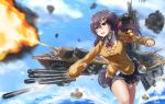 1girl azur_lane bell black_hair black_skirt blue_sky bow bowtie brown_eyes clouds collar day dress_shirt firing floating_hair hair_between_eyes hair_ornament hair_ribbon hairclip highres horns long_hair long_sleeves miniskirt nagara_(azur_lane) open_mouth outdoors outstretched_arm pleated_skirt red_bow red_ribbon ribbon school_uniform shiny shiny_hair shirt skirt sky solo twintails v_r_dragon01 white_shirt yellow_cardigan