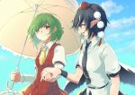 2girls ascot bangs bird_wings black_hair black_neckwear black_wings blue_sky clouds collared_shirt commentary_request feathered_wings green_hair hand_holding hat highres holding holding_umbrella juliet_sleeves kazami_yuuka long_sleeves looking_at_another multiple_girls necktie open_mouth plaid plaid_vest pointy_ears pom_pom_(clothes) puffy_sleeves red_eyes red_hat retora shameimaru_aya shirt short_hair short_sleeves sky smile tokin_hat touhou umbrella vest wings yellow_neckwear