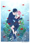 1boy 1girl 2018 bike_shorts black_footwear black_pants black_shirt black_shorts blush couple dated fish floating_hair goldfish green_eyes hair_between_eyes hairband haruno_sakura long_sleeves naruto_(series) ohringood pants parted_lips pink_hair pink_hairband shirt short_hair shorts sleeveless smile uchiha_sasuke underwater