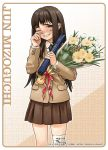 blazer bouquet brown_eyes brown_hair brown_skirt diploma flower frame grin hand_on_own_face highres holding jacket long_hair long_sleeves looking_at_viewer pleated_skirt skirt smile tanaka_kunihiko tears wince wiping_tears