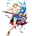 1boy fire_emblem fire_emblem:_seima_no_kouseki fire_emblem_heroes flag full_body green_eyes green_hair highres innes male_focus mayachise nintendo official_art short_hair simple_background solo swimsuit torn_clothes