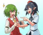2girls ascot black_hair black_neckwear black_ribbon blue_background camera collared_shirt commentary_request gradient gradient_background green_hair hair_between_eyes hat highres holding holding_camera kazami_yuuka long_sleeves looking_at_another multiple_girls open_mouth plaid plaid_vest pointing pointy_ears red_eyes red_hat retora ribbon shameimaru_aya shirt short_hair short_sleeves sparkle sweat tokin_hat touhou upper_body vest white_background yellow_neckwear