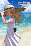 1girl adjusting_clothes adjusting_hat alternate_hairstyle artist_name bangs beach black_bow blue_eyes blue_sky blush bow character_name clouds cloudy_sky commentary_request cowboy_shot dated day dress english eyebrows_visible_through_hair girls_und_panzer hair_down happy_birthday hat hat_bow highres long_hair looking_at_viewer matsui_yasutsugu ocean open_mouth orange_hair orange_pekoe outdoors short_dress signature sky smile solo sparkle standing straw_hat sun_hat white_dress
